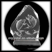K9 Handmade Crystal Intaglio with Fish