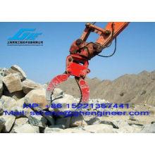 Hidráulico, pedra, agarrar, escavador, grande, escavação, cavar, alto, desempenho