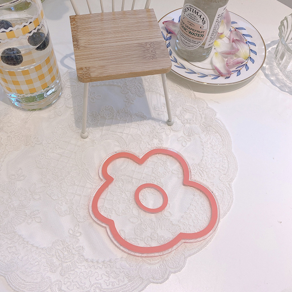 Acrylic Flower Shaped Coaster Pink