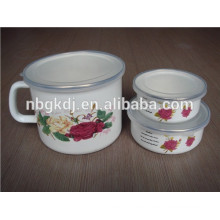 bulb handle enamel milk pot with PE lid