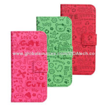 Embossed Carton Pattern Leather Case with Credit Card Slot and Holder, for iPhone 5/5S, Manufacturer