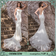 2017 new arrvial beige mermaid illusion effection pictures of latest gowns design