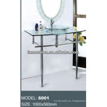 2013 Vitrina del gabinete de tocador del cuarto de baño de cristal con la vanidad de cristal al aire libre del soporte del acero inoxidable