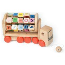 Camion éducatif éducatif en alphabet en bois pour enfants