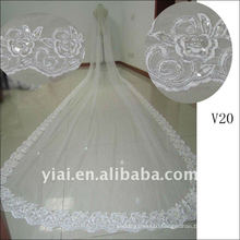 V20 Real Sample Long Beaded 5 Meters One Layer Lace wedding Veil 2012