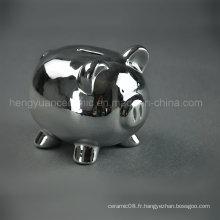 Galvanisation en céramique Lovely Piggy Bank, Silver Coin Bank