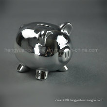 Ceramic Electroplating Lovely Piggy Bank, Silver Coin Bank