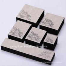 Boîte à bijoux en tissu de lin Bague / Collier / Bracelet Boîte d'emballage avec impression