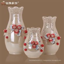 Dessins de peinture en céramique en Chine Ensemble de vases à fleurs Pomegrate