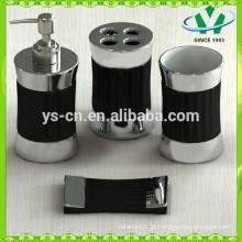 Acessórios chineses do banheiro da cerâmica para o hotel, jogo preto do banho do silvering