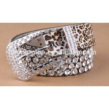 women rhinestone leopard belt needlepoint buckle belt genuine leather belt