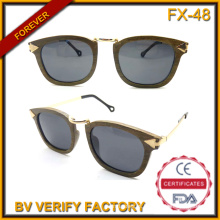 Fx-48 Fashionable Chic Natural Pure Wooden Sunglasses with Arrow Shaped Temples