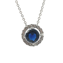 Blue Stone Round Circle Silver Pendant