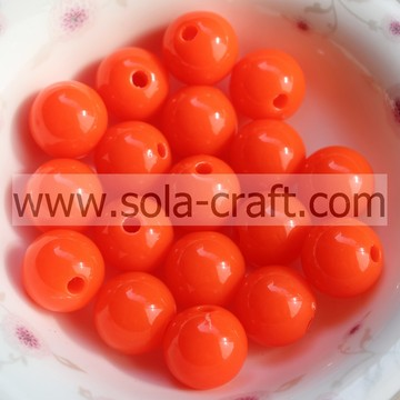 China Wholesaler Chunky Ball Tangerine Flsorescence 6MM Acrylic Opaque Jewelry Beads