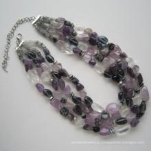Daking 4 строк красочные природных драгоценных камней ожерелье