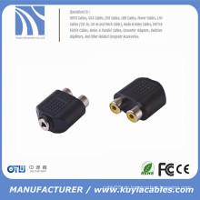2 Cinch Buchse auf 3,5 mm Stereo Buchse Splitter Audio Adapter