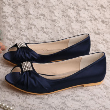 Wedopus Flat Bridal Party Shoes Satén azul marino