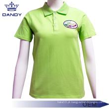 Camisas polo uniformes de piquete verde para mulheres