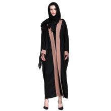 Moderno elegante mujer mangas largas frente negro abierto Abaya Muslim Clothing