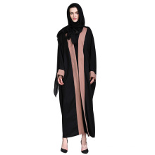 Moderne élégante femme manches longues noir avant ouvert Abaya vêtements musulmans
