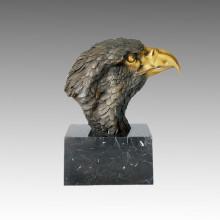 Statue en laiton animal Grande sculpture en bronze Eagle Head Bronze Tpal-017