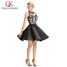 Grace Karin 2016 sin mangas de raso ahueca espalda pelo corto vestido de baile GK000054-1