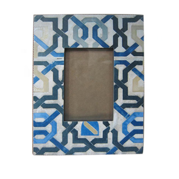 Blue lines wood photo frame