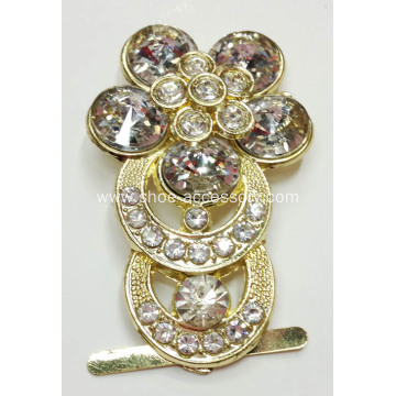 Classic Metal Shoe Buckle with Rhinestone for Women Footwear