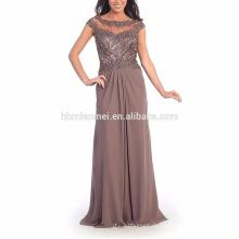Neues Design Kurzarm Diamant Dekoration Abend Abendessen Kleid Kappe Ärmel durchschauen asiatische Mutter der Braut Abendkleid
