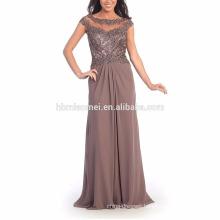 New design short sleeve diamond decoration evening dinner dress cap sleeve see through asian mother of bride evening dress