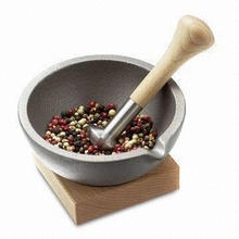 Mortar and Pestle Set, Made of Cast Iron with Wooden Base, 13cm Length