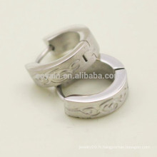 Acier inoxydable Vintage Pattern Silver Round Hoop Boucles d'oreilles pour hommes