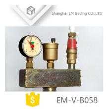 EM-V-B058 Latón de calefacción de suelo Válvula de seguridad Componente de seguridad de caldera de tres piezas