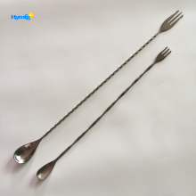 Stainless Steel Cocktail Bar Mixing Spoon with Fork