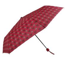 Hot sale fashion design flower printed 3folding umbrella for girl on school