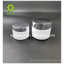 50g 100g vidro frasco cosmético frasco de vidro branco com tampa de metal