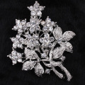Valentine's Day Gifts Crystal Brooches Fashion Luxury Cute Sparking clear Rhinestone silver color Flower tree Alloy Brooches