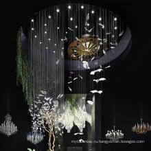 Custom большой торговый центр стеклянная люстра в форме птицы