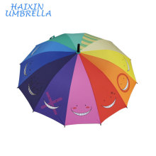 Fashion 23 Inches Straight Cheap Automatic Big Size Personalized Smiling Face Custom Print New Design Umbrella Rainbow Color