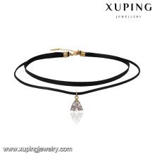 43691 xuping à la mode en or 18 carats en cuir triangle pendentif collier 2 couche bijoux avec fermoir magnétique