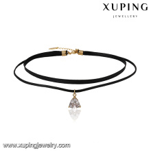 43691 xuping elegante 18k de couro de ouro triângulo pingente de colar 2 camada de jóias com fecho magnético