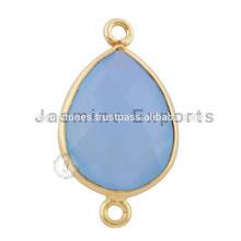 Casquilho de quartzo de calcedônia feito à mão Vermeil Gold Blue