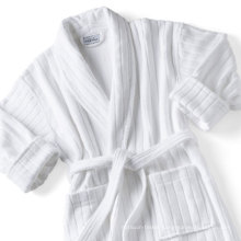 Stripe Velour White Luxury Star Hotel Bathrobe (DPFT8069)