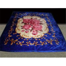 100% polyester soft flower print & carved cheap polyester blanket