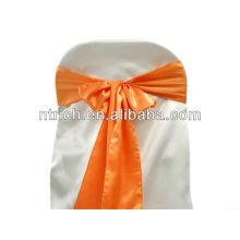 Faixa de cadeira laranja de cetim, laços de cadeira, quebra para hotel do banquete de casamento