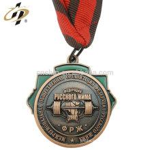 Medalla de levantamiento de pesas de recuerdo de bronce África 3D antiguo personalizado con cordón