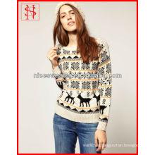 Jacquard knitting pattern women christmas jumper reindeer sweater