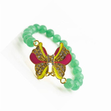 Green Aventurine Gemstone Bracelet with Diamante alloy Butterfly Piece