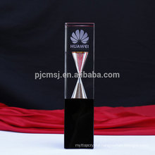 Latest design new type crystal trophy with hourglass