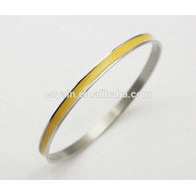 316L Stainless steel thin yellow enamel bangle bracelets